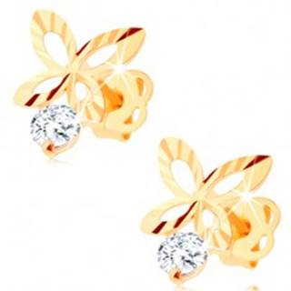 Briliantové zlaté náušnice 585 - ligotavý obrys motýľa, číry diamant
