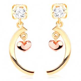 Diamantové náušnice zo 14K zlata - číry briliant, lesklý oblúk, malé vypuklé srdiečko