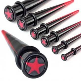 Expander do ucha z akrylu - červená hviezda - Hrúbka piercingu: 10 mm