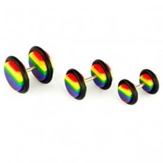 Falošný plug do ucha - dúhové farby - Priemer: 10 mm