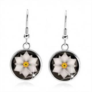 Kabošon náušnice, kruh s glazúrou, biely kvet na čiernom podklade