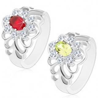 Lesklý prsteň s vyrezávanými ramenami, brúsený oválny zirkón s čírou obrubou - Veľkosť: 51 mm, Farba: Červená