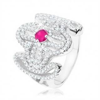 Mohutný prsteň, striebro 925, číry zirkónový kríž, ružový zirkón v strede - Veľkosť: 53 mm