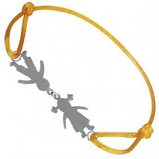 Náramok zo striebra 925 - chlapec a dievča na žltej šnúrke, spojení pri hlave
