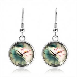 Náušnice cabochon, číra vypuklá glazúra, motív - hodinky, kvet s listami