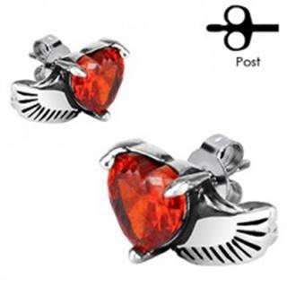 Náušnice z chirurgickej ocele - anjelské krídlo, červené srdce