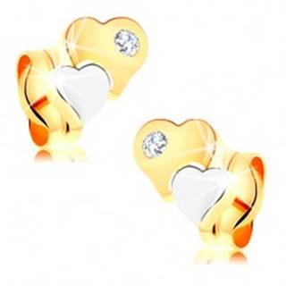 Náušnice zo 14K zlata - dvojfarebné lesklé srdiečka, číry zirkónik