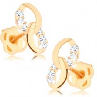 Náušnice zo žltého 14K zlata - dve prepojené elipsy, línie čírych diamantov