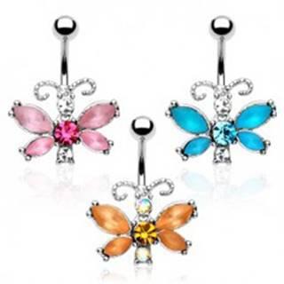 Piercing do bruška - motýľ, farebné zirkóny, členité tykadlá - Farba zirkónu: Aqua modrá - Q