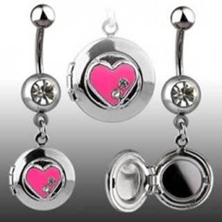 Piercing do pupku - okrúhly medailón, srdiečko, zirkóny