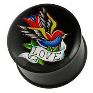 Plug do ucha - pestrofarebný vtáčik, stuha a nápis LOVE - Hrúbka piercingu: 10 mm