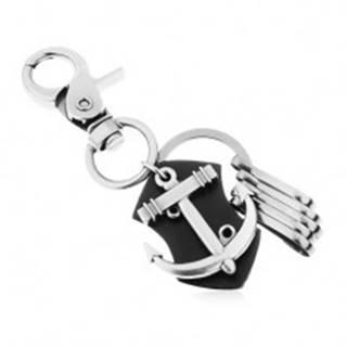 Prívesok na kľúče - oceľovo sivý povrch, čierna umelá koža, lesklá lodná kotva