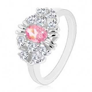 Prsteň s lesklými hladkými ramenami, brúsený ružový ovál, číre zirkóniky - Veľkosť: 54 mm