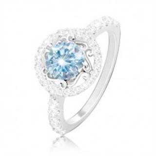 Strieborný 925 prsteň - svetlomodrý zirkón, ornamenty, zirkónová obruč a ramená - Veľkosť: 49 mm