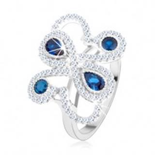 Strieborný 925 prsteň, trblietavé ornamenty, tmavomodré zirkóny - Veľkosť: 49 mm
