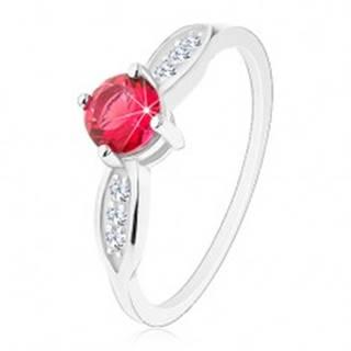 Strieborný prsteň 925, okrúhly ružový zirkón, ligotavé lístky po stranách - Veľkosť: 48 mm