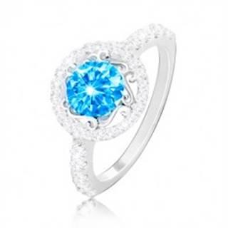 Strieborný prsteň 925 - zirkón akvamarínovej farby, ornamenty, číre zirkóniky - Veľkosť: 49 mm