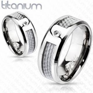 Titánový prsteň - biely sieťovaný vzor so zirkónom - Veľkosť: 49 mm