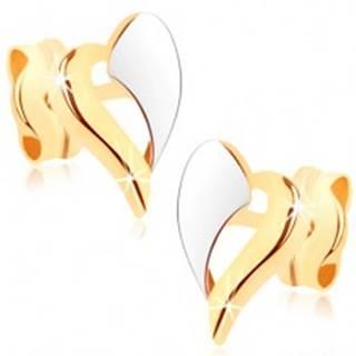 Zlaté náušnice 375 - dvojfarebný obrys nepravidelného srdiečka, ródiované