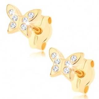 Zlaté náušnice 375 - ligotavý motýlik zdobený drobnými čírymi zirkónmi