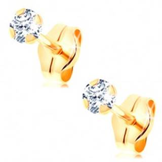 Zlaté puzetové náušnice 585 - číry okrúhly zirkón so štyrmi paličkami, 3 mm