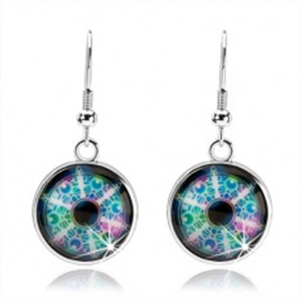 Šperky eshop Cabochon náušnice, strieborná farba, rôznofarebný kaleidoskop, kruhy