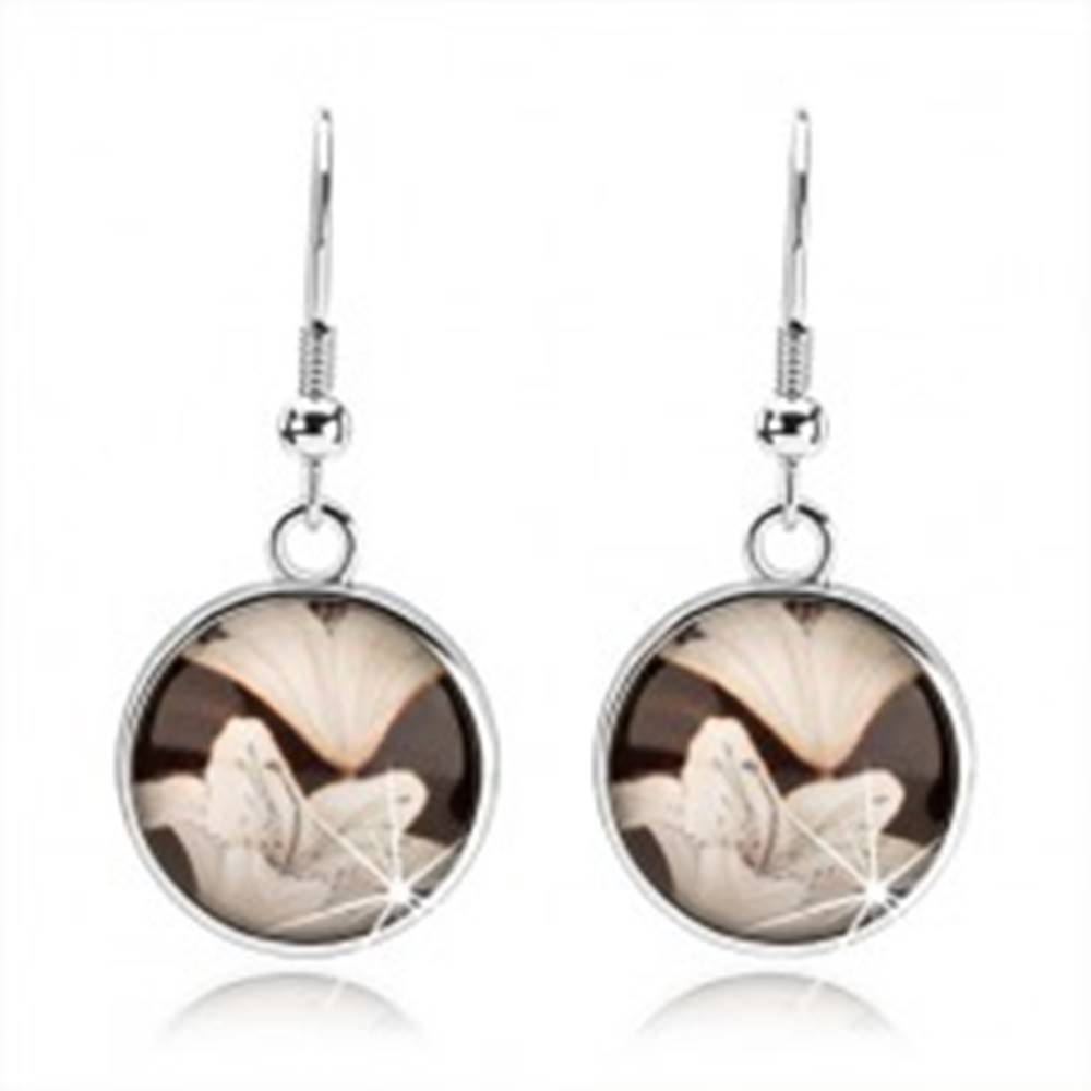 Šperky eshop Cabochon náušnice visiace na afroháčikoch, vypuklé sklo, biele kvety ľalie