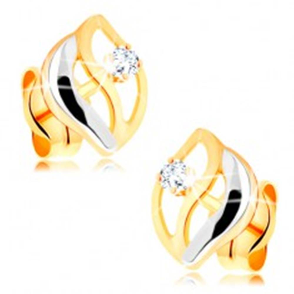 Šperky eshop Dvojfarebné náušnice v 14K zlate - tri zvlnené línie, okrúhly číry zirkónik