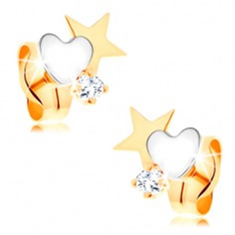 Šperky eshop Dvojfarebné zlaté náušnice 585 - hviezda a srdce, okrúhly číry zirkónik