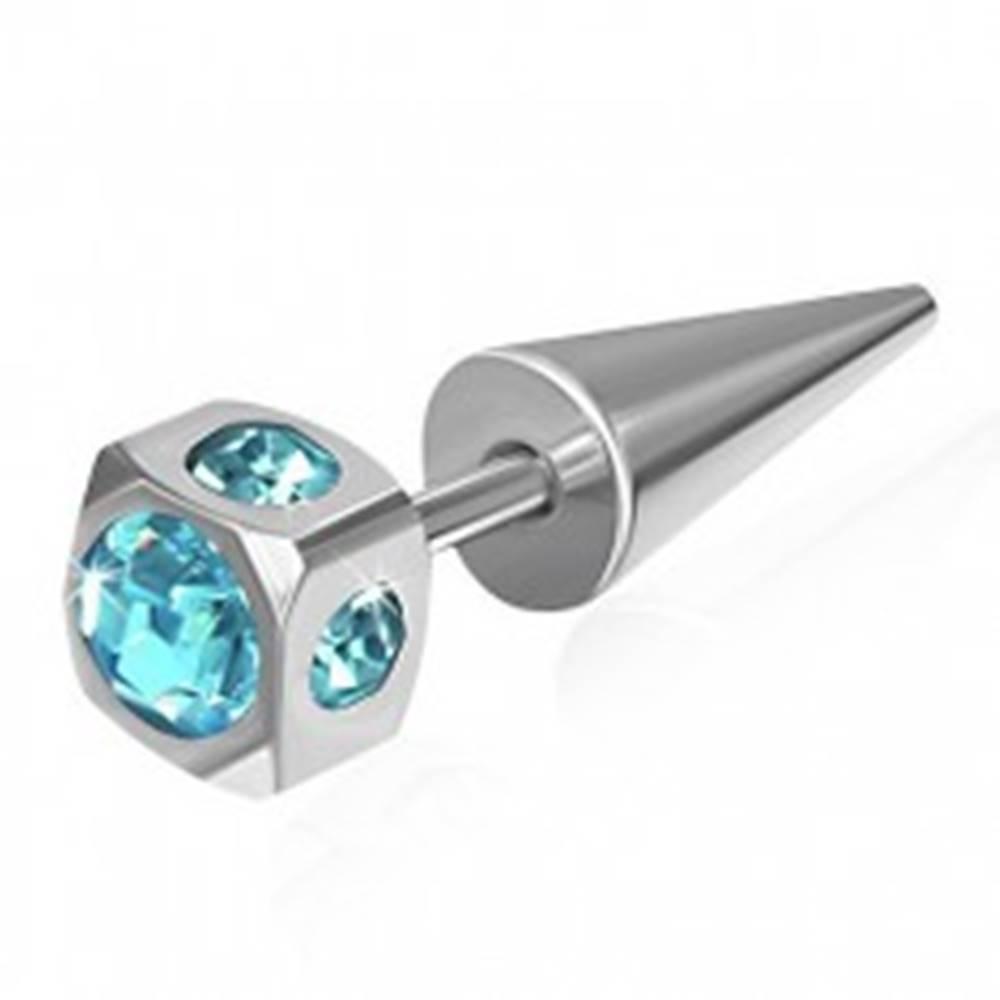Šperky eshop Falošný expander z ocele - kocka, vsadené svetlomodré zirkóny