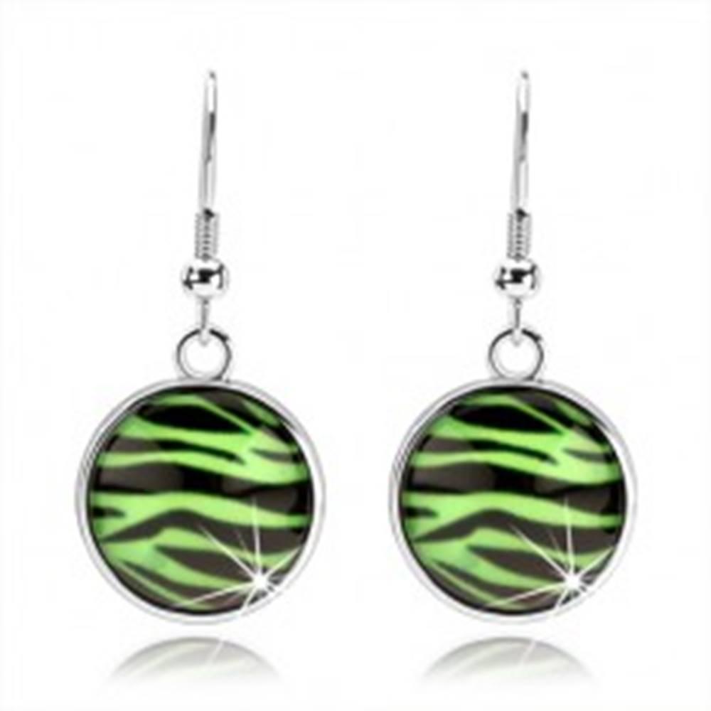 Šperky eshop Kabošon náušnice s vypuklým sklom, zebra vzor v zeleno-čiernej kombinácii