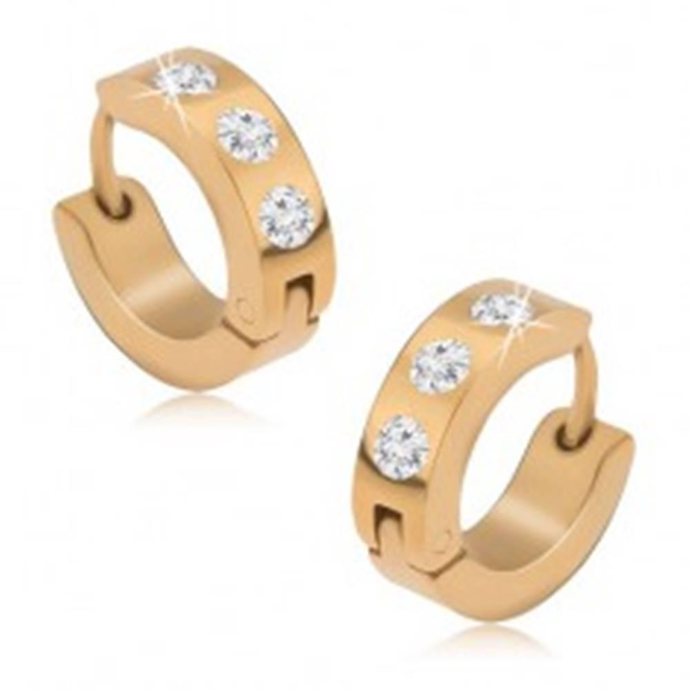 Šperky eshop Kĺbové náušnice z ocele 316L zlatej farby, tri okrúhle číre zirkóny