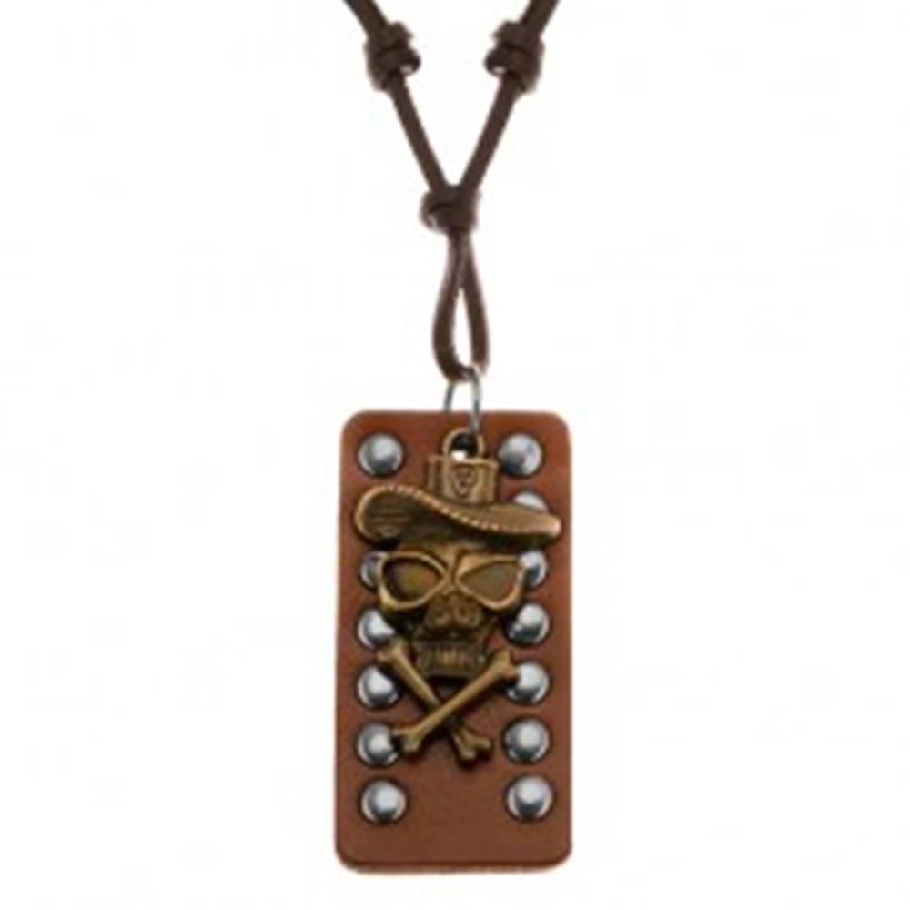 Šperky eshop Kožený náhrdelník - lebka s prekríženými kosťami a klobúkom, vybíjaný pás kože