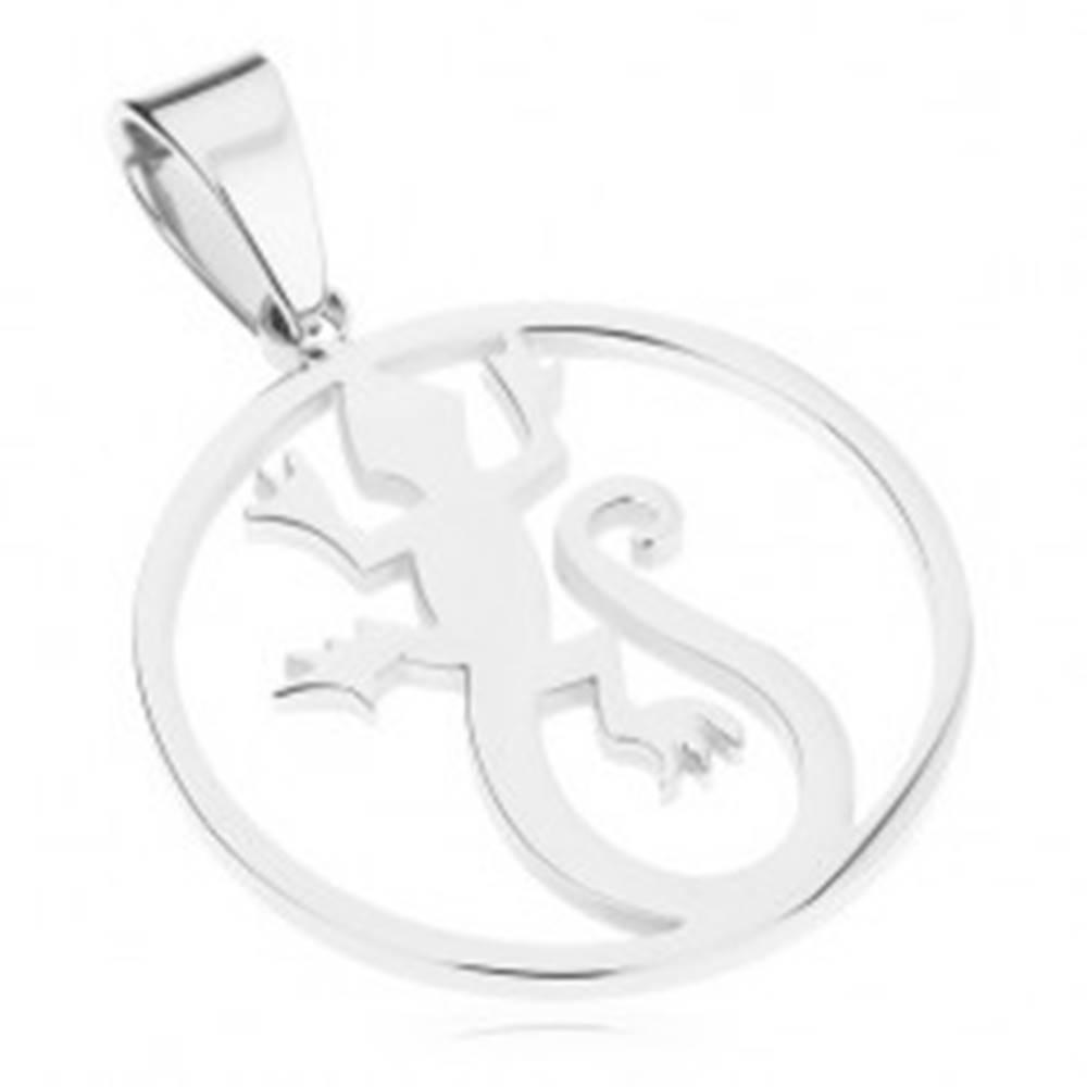 Šperky eshop Lesklý okrúhly prívesok z ocele 316L, strieborná farba, jašterica v obryse kruhu