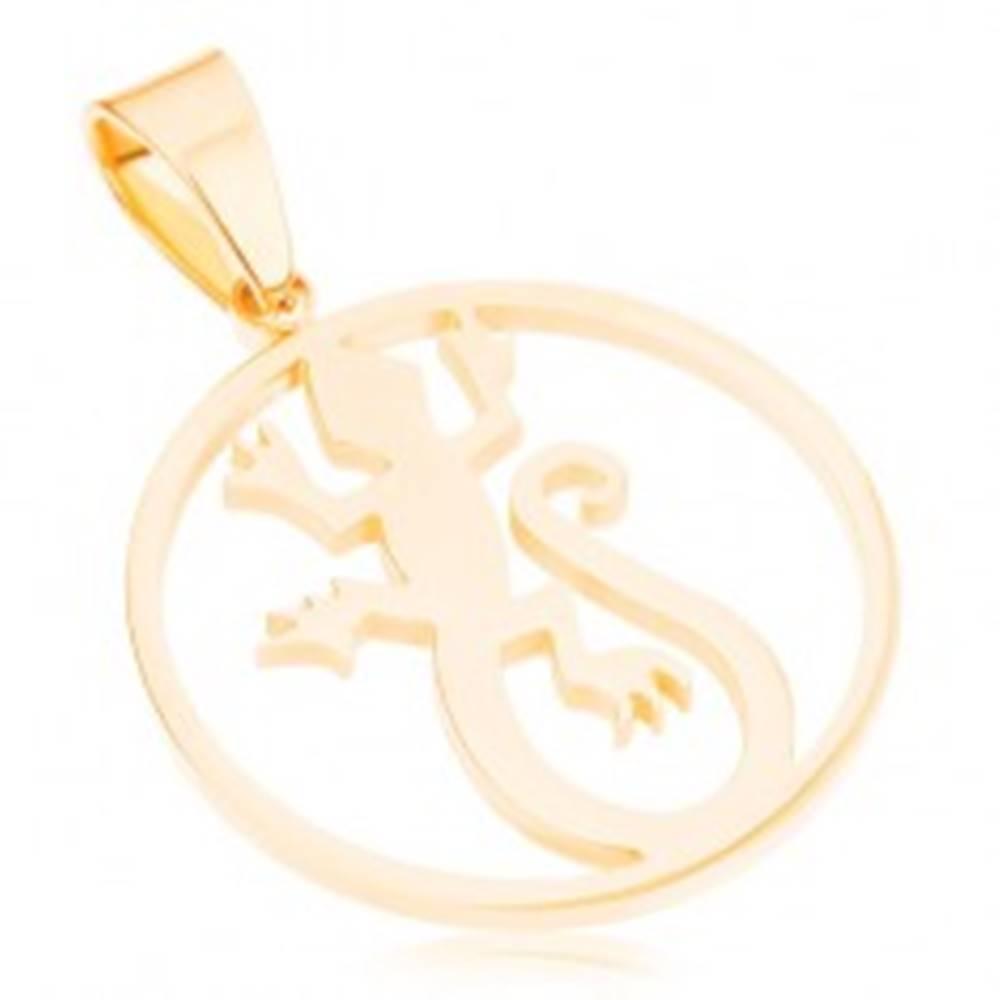 Šperky eshop Lesklý okrúhly prívesok z ocele 316L, zlatá farba, jašterica v obryse kruhu