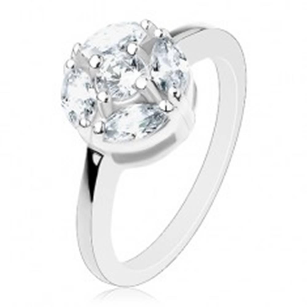 Šperky eshop Lesklý prsteň striebornej farby, kruh zdobený čírymi zrnkami a okrúhlym zirkónom - Veľkosť: 57 mm