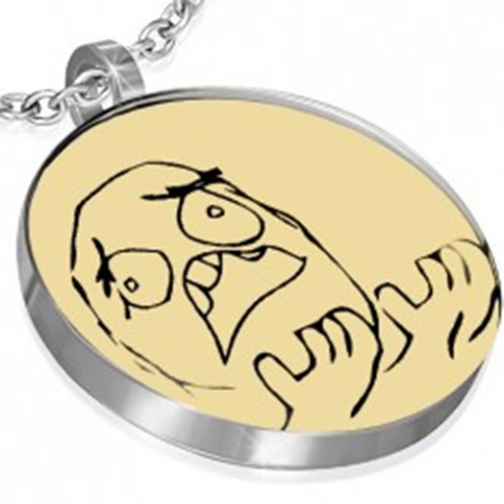 Šperky eshop MEME FACE prívesok z ocele - RAGE GUY WHY