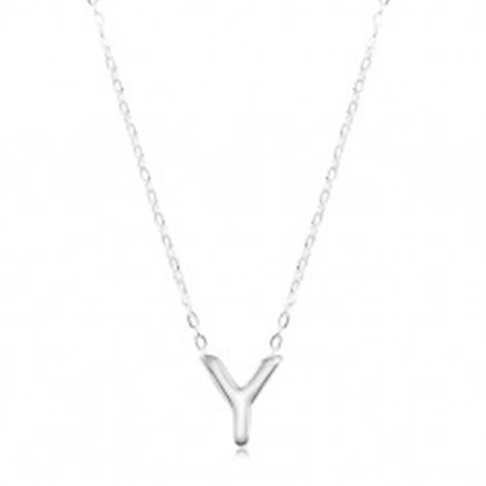 Šperky eshop Náhrdelník zo striebra 925, veľké tlačené písmeno Y, lesklá retiazka