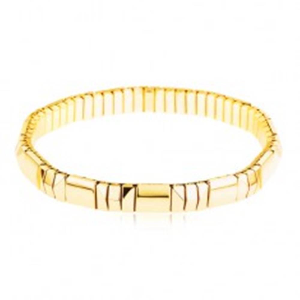 Šperky eshop Náramok z ocele 316L v zlatom odtieni, jeden rovný a tri brúsené články