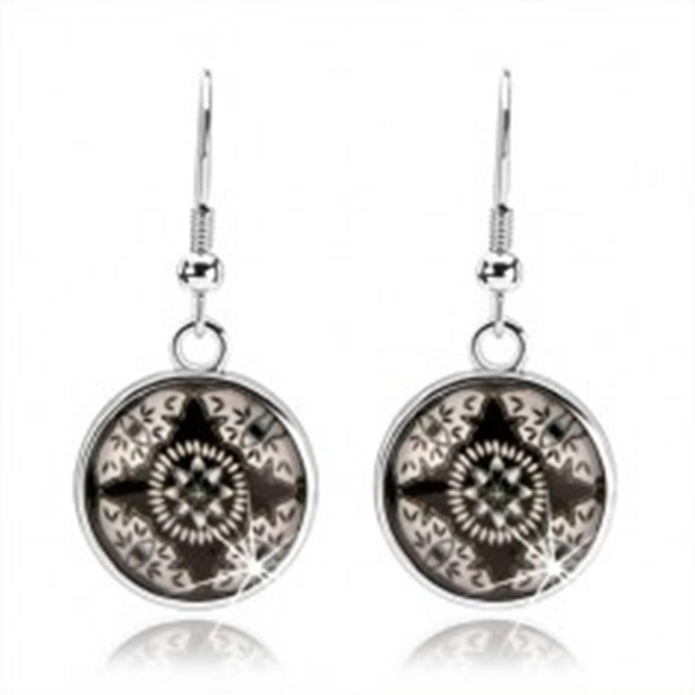 Šperky eshop Náušnice kabošon, vypuklé sklo, čierno-biely obrázok - hviezda, kvet, oči