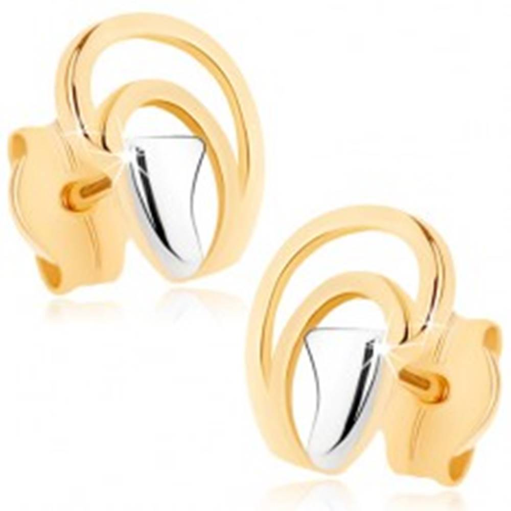 Šperky eshop Náušnice v 9K zlate - nepravidelné oblúčiky tvoriace kvapku, dvojfarebné