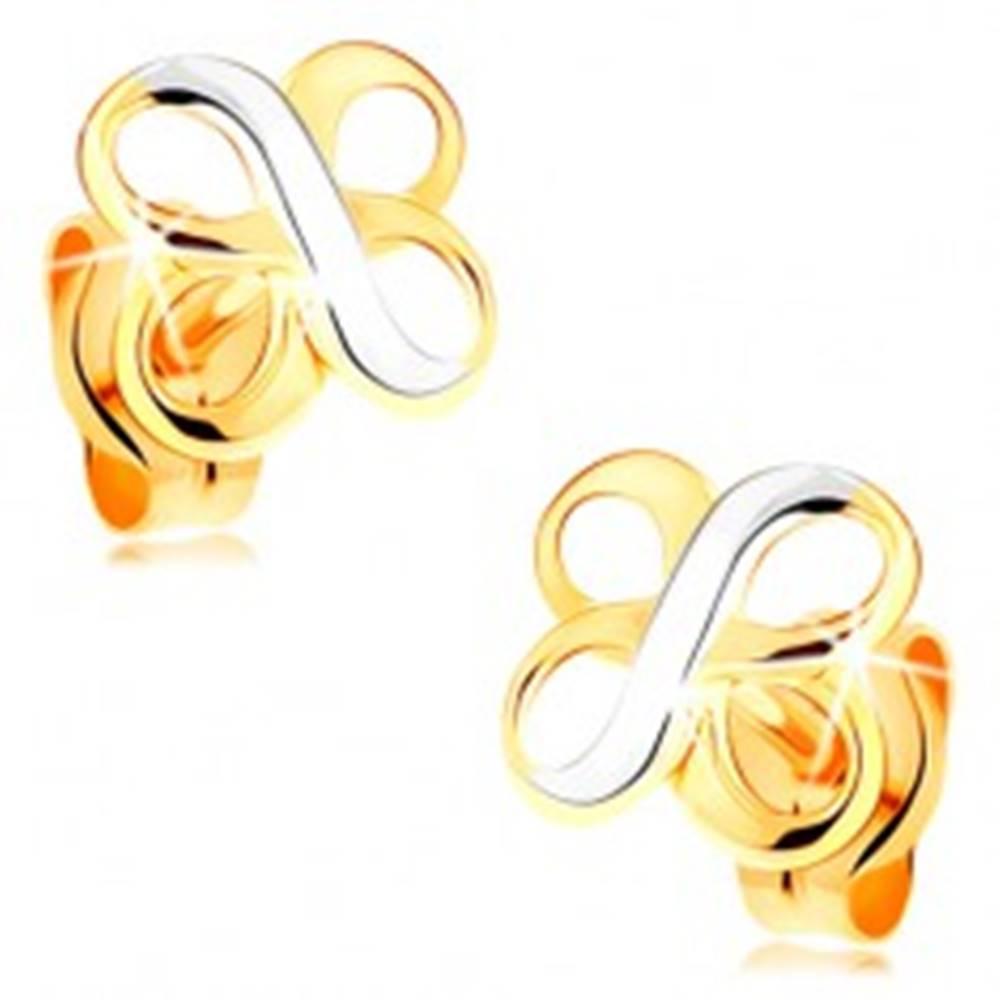 Šperky eshop Náušnice v kombinovanom 14K zlate - dva lesklé symboly INFINITY