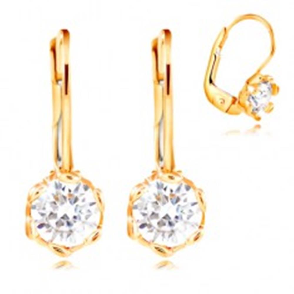 Šperky eshop Náušnice v žltom 14K zlate - číry zirkón s dekoratívnymi kolíkmi, 4,5 mm