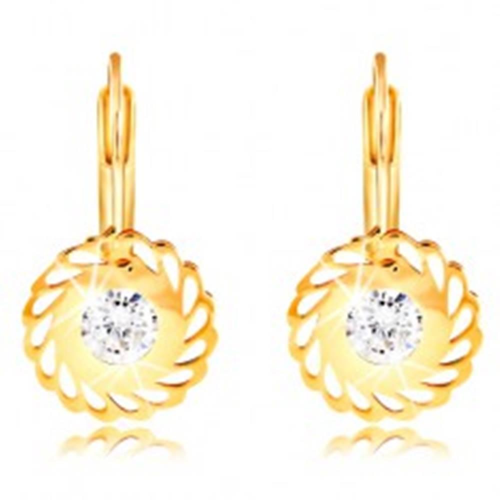 Šperky eshop Náušnice v žltom 14K zlate - kvet so slzičkovými výrezmi a čírym zirkónom