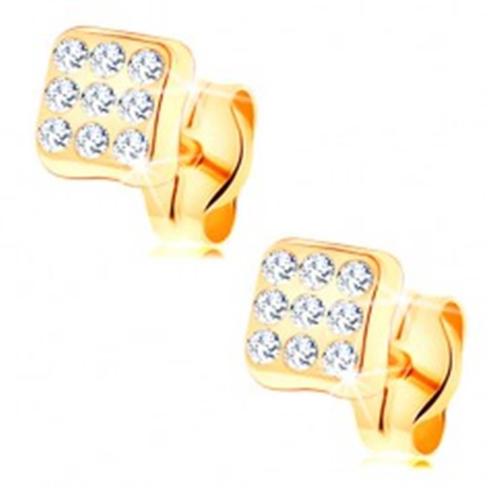 Šperky eshop Náušnice v žltom 14K zlate - ligotavý štvorec, okrúhle číre zirkóniky
