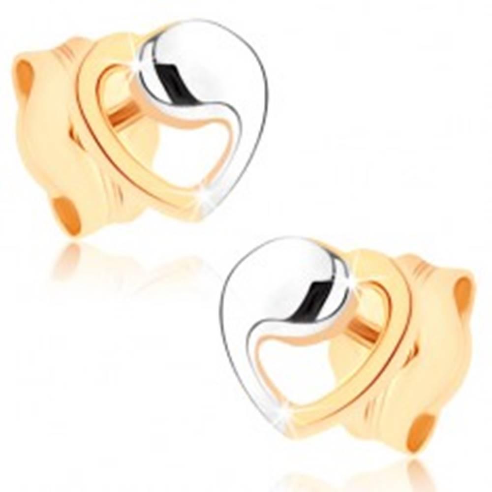 Šperky eshop Náušnice v žltom 9K zlate - kontúra srdca v dvojfarebnom prevedení