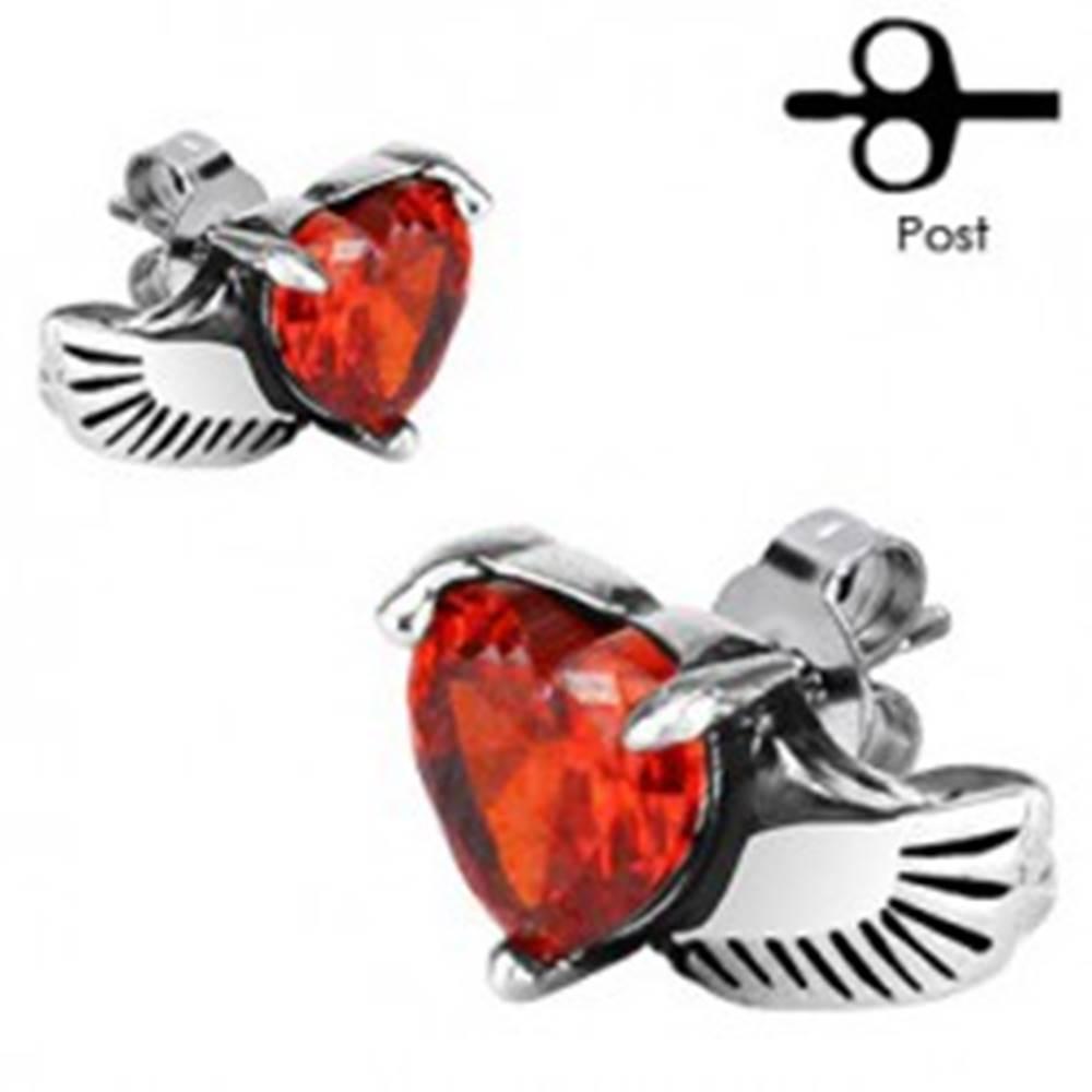 Šperky eshop Náušnice z chirurgickej ocele - anjelské krídlo, červené srdce