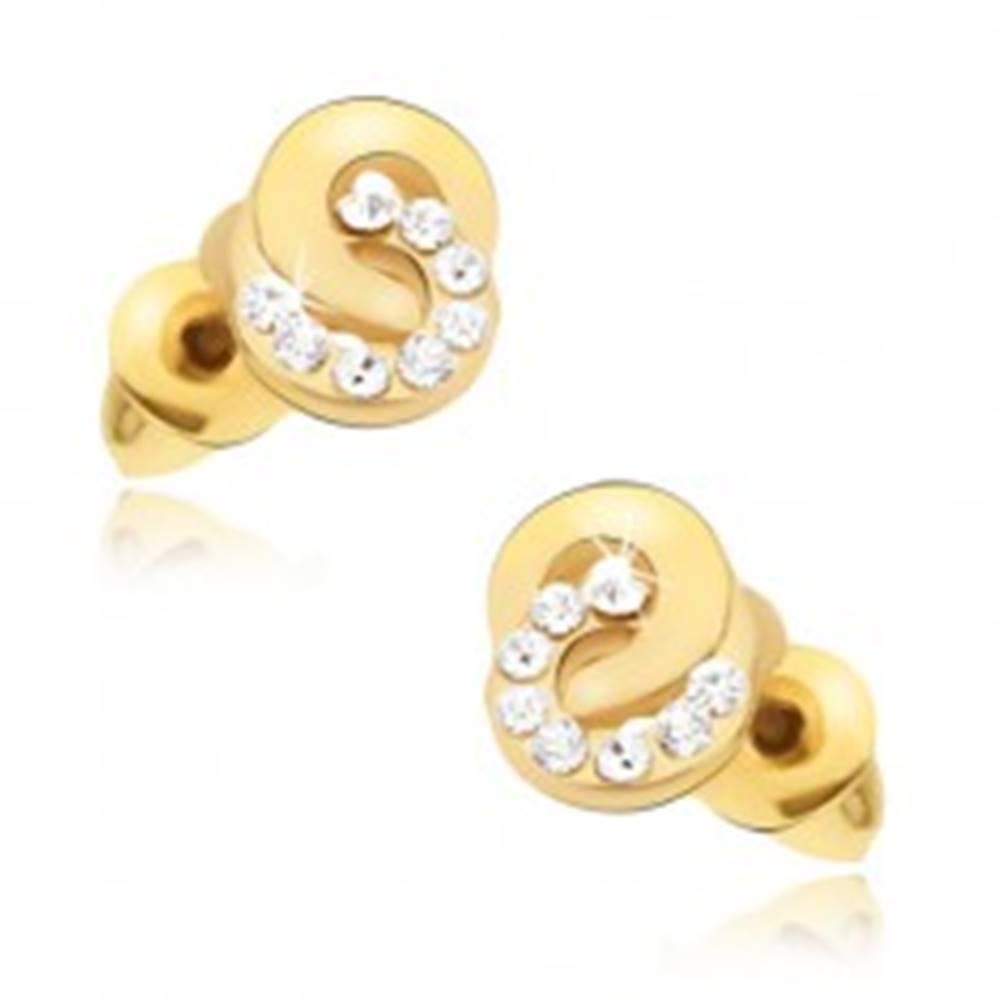 Šperky eshop Náušnice zlatej farby, zirkónový a hladký krúžok