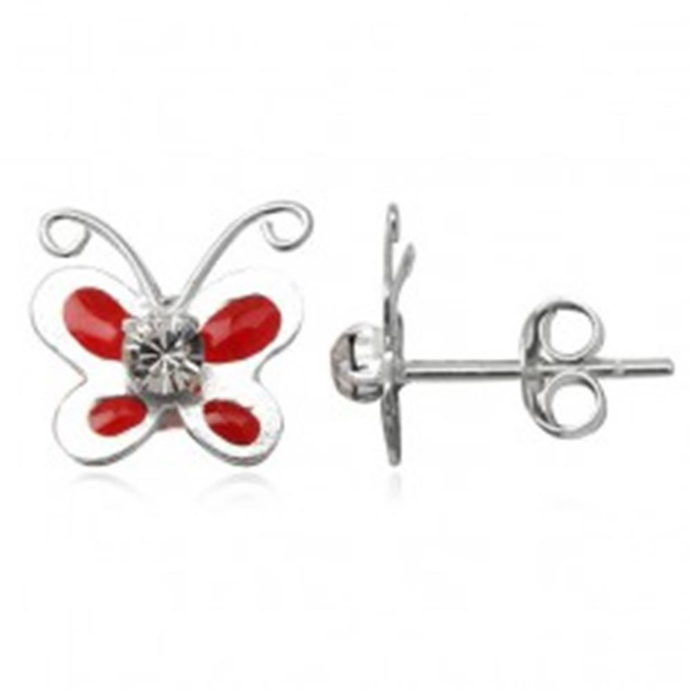 Šperky eshop Náušnice zo striebra 925 - glazúrový červený motýlik, číry zirkón