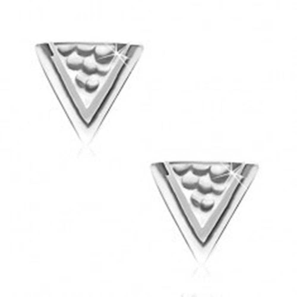 Šperky eshop Náušnice zo striebra 925, trojuholník s jamkami a úzkym výrezom